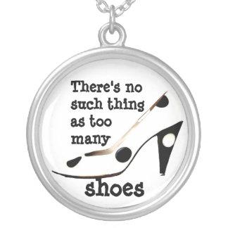 Shopaholic Shoe Fan Silver Plated Necklace