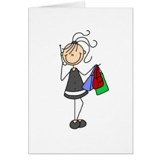Shopping And Cellphone Stick Figure Card
