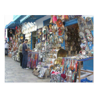 shopping at a bazaar in Tunisia Postcard
