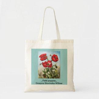 Shopping bag, field poppy flowers, budget tote bag