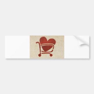 Shopping Cart Heart Bumper Sticker