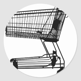 Shopping Cart Silhouette Classic Round Sticker