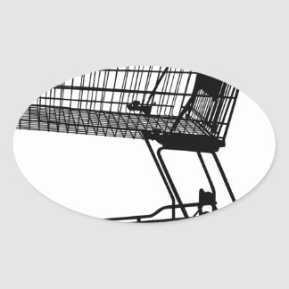 Shopping Cart Silhouette Oval Sticker