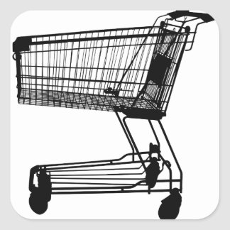 Shopping Cart Silhouette Square Sticker