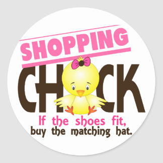 Shopping Chick 1 Round Sticker