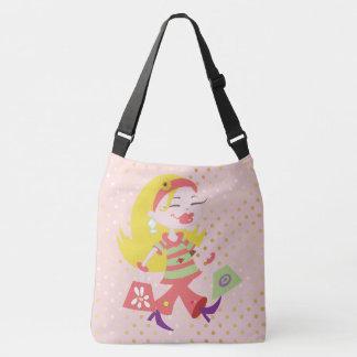 Shopping Diva Blonde Girl Pink Clothes Polka Dots Crossbody Bag