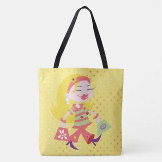 Shopping Diva Blonde Girl Pink Clothes Polka Dots Tote Bag