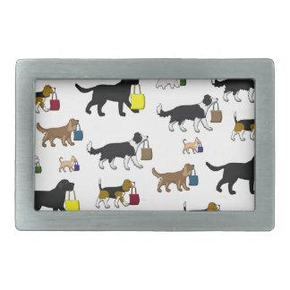 shopping dogs rectangular belt buckle