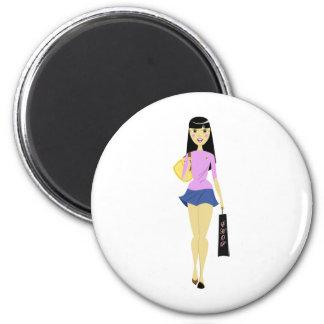 Shopping girl 6 cm round magnet