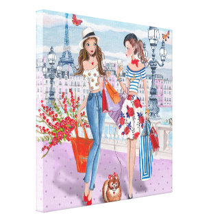 Shopping girls in Paris - Canvas Gallery Wrapped Canvas