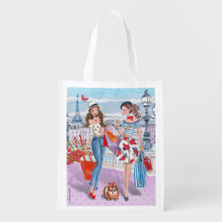 Shopping girls in Paris | reusable grocery bag