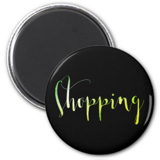 Shopping Green Black Week Planner Home Office 6 Cm Round Magnet