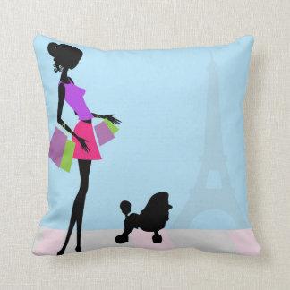 Shopping in Paris Decorative Pillow Cushions