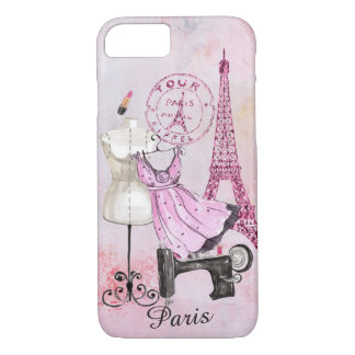 Shopping in Paris under the Eiffeltower -Editable iPhone 7 Case