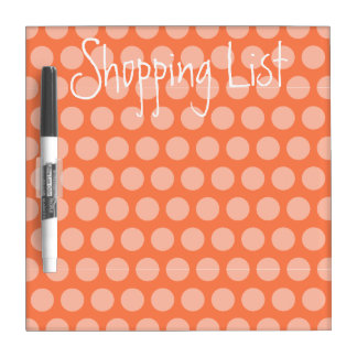 Shopping List Coral Polka Dot Dry Erase Board
