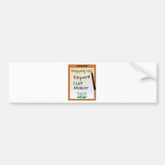 Shopping List expert list maker Bumper Sticker