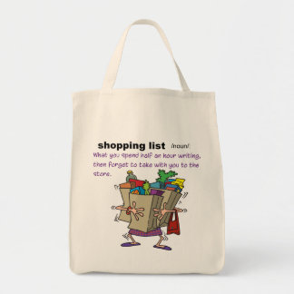 Shopping List Grocery Tote Grocery Tote Bag
