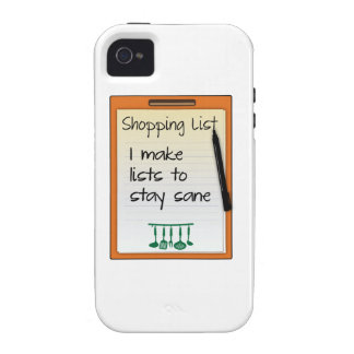 Shopping List I make lists to stay sane Vibe iPhone 4 Cases