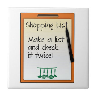 Shopping List make a list and check it twice Ceramic Tile
