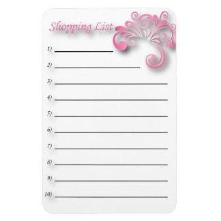 Shopping list flexible magnets