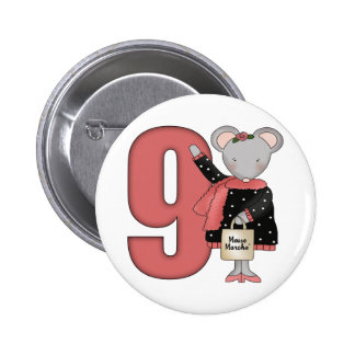 Shopping Mouse 9th Birthday Gifts Pin