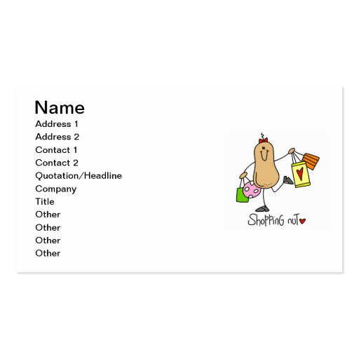 Shopping Nut T-shirts and Gifts Business Card Template