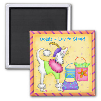 Shopping Poodle Whimsy Dog Art Yellow Square Magnet