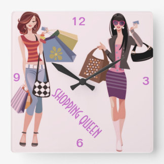 SHOPPING QUEEN COLLECTION SQUARE WALL CLOCK