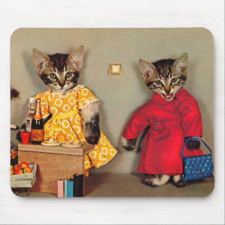 shopping tabby kitten and cashier tabby kitten mouse pad