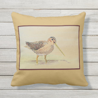 Shore Bird- Common Snipe Outdoor Cushion