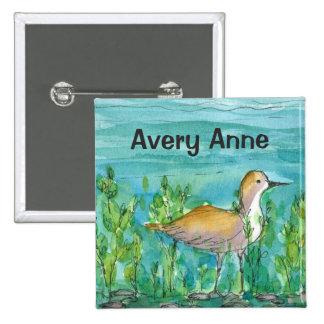 Shore Bird Lake Watercolor Custom Name 15 Cm Square Badge