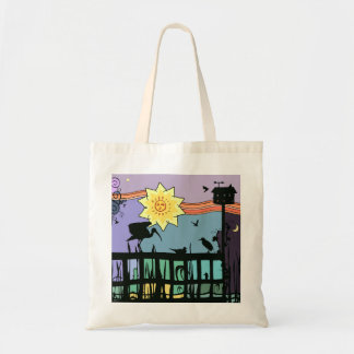 Shore Birds Colorful Illustration Tote Budget Tote Bag