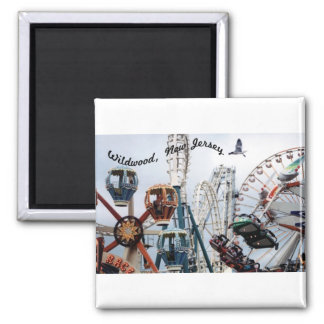 Shore Pier-Wildwood Text Square Magnet