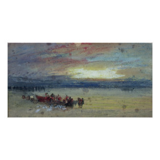 Shore Scene, Sunset Poster