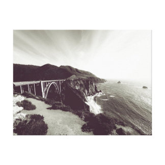 Shoreline Cliff Bridge Ocean   Photography Canvas Print