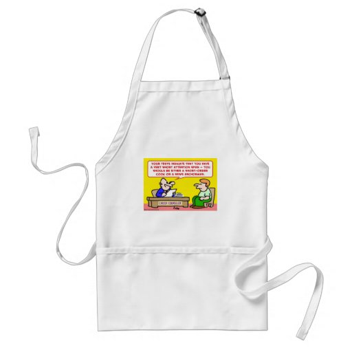 short attention span news anchor aprons