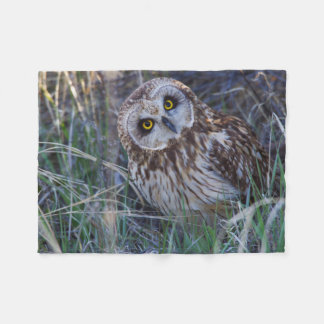 Short-eared Owl Fleece Blanket