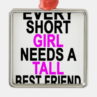 (SHORT GIRL - TALL GIRL) BFF Women's T-Shirts.png Silver-Colored Square Decoration