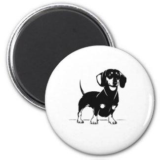 Short haired dachs round magnet