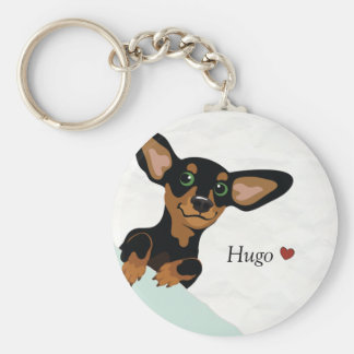 Short haired dachshund key chain add name