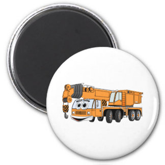 Short Orange Cartoon Crane 6 Cm Round Magnet