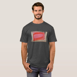 Short sleeved t-shirt charcoal with red abstract