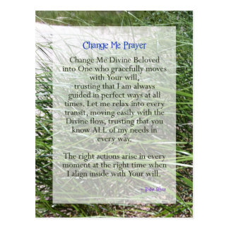 Shortened Change Me Prayer from Tosha Silver Postcard