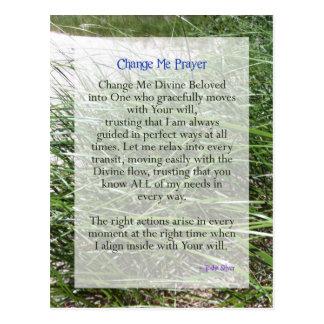 Shortened Change Me Prayer from Tosha Silver Postcard