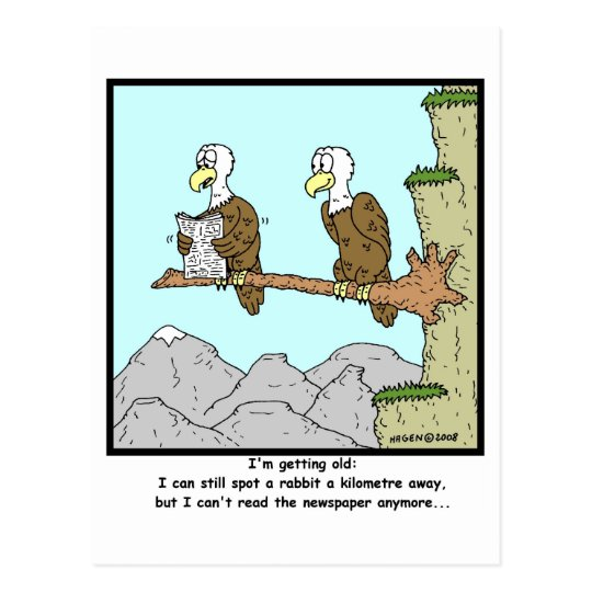 Shortsighted: Eagle Cartoon Postcard