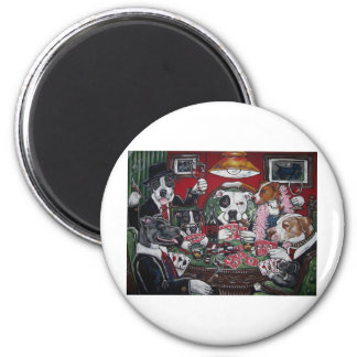 shorty's dogs playing poker 6 cm round magnet