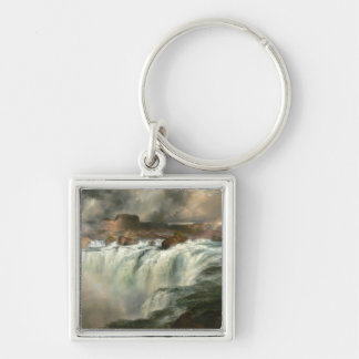 Shoshone Falls on the Snake River - 1900 Silver-Colored Square Key Ring