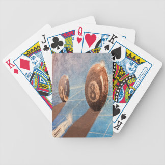 Shot of billiard balls illustration on the wall bicycle playing cards
