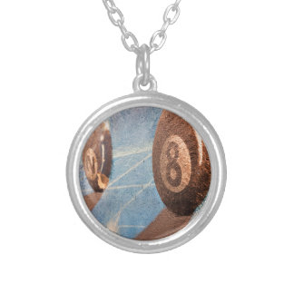 Shot of billiard balls illustration on the wall silver plated necklace