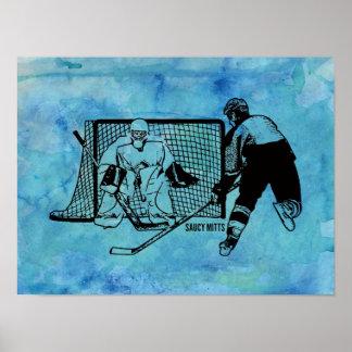 Shot On Net Hockey Sketch on Blue Watercolor Poster